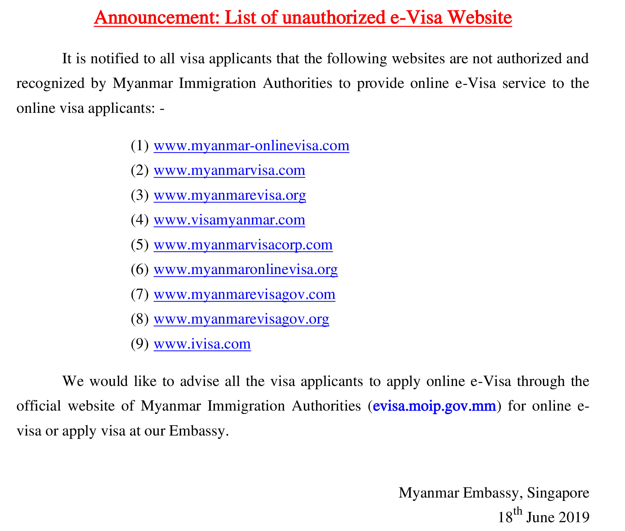 Embassy Of The Republic Of The Union Of Myanmar Visa